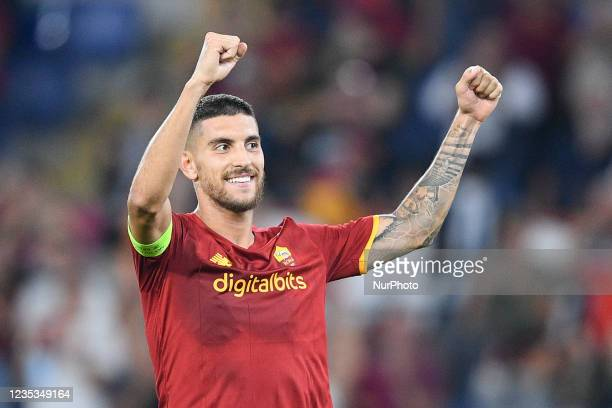 Lorenzo Pellegrini of AS Roma celebrates after scoring third goal during the UEFA Conference League group C match between AS Roma and AS Roma at...