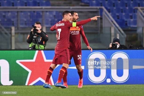 Lorenzo Pellegrini of A.S Roma celebrates with team mate Leonardo Spinazzola after scoring their side's first goal during the UEFA Europa League...