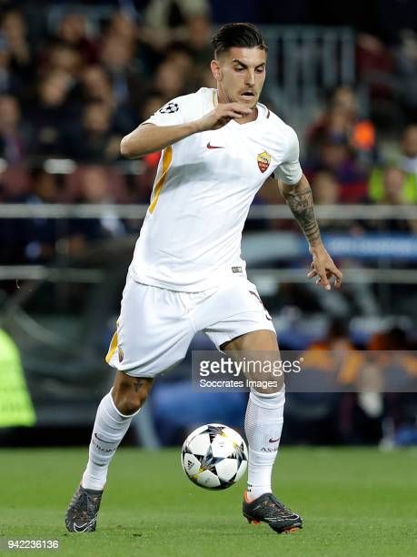 Lorenzo Pellegrini of AS Roma during the UEFA Champions League match between FC Barcelona v AS Roma at the Camp Nou on April 4 2018 in Barcelona Spain
