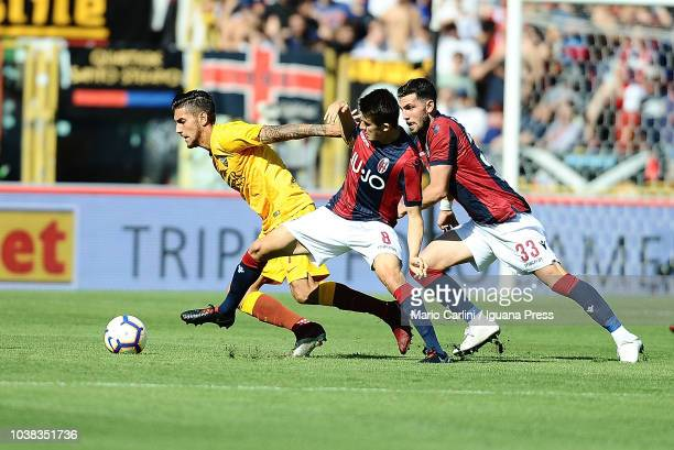 Lorenzo Pellegrini of AS Roma in action during the serie A match between Bologna FC and AS Roma at Stadio Renato Dall'Ara on September 23 2018 in...