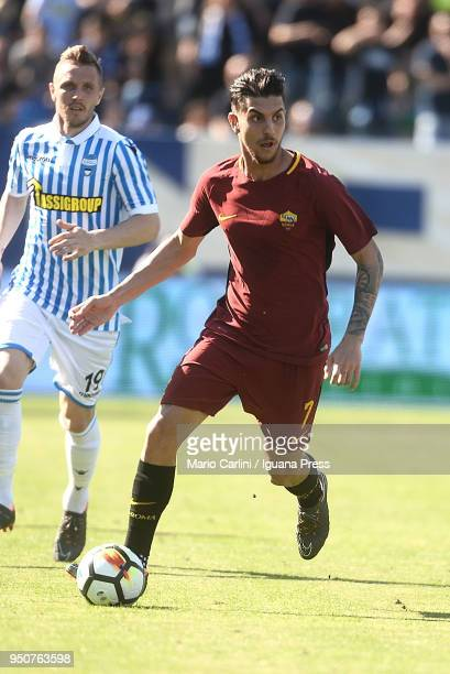 Lorenzo Pellegrini of AS Roma in action during the serie A match between Spal and AS Roma at Stadio Paolo Mazza on April 21 2018 in Ferrara Italy