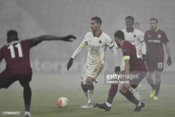 Lorenzo Pellegrini of AS Roma in action during the UEFA Europa League Group A match between CFR Cluj and AS Roma at Constantin Radulescu Stadium on...
