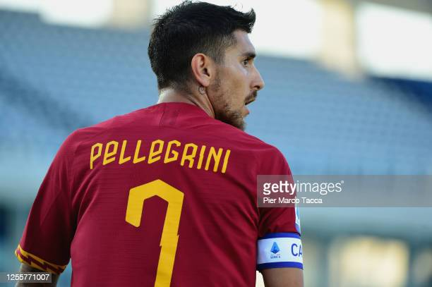 Lorenzo Pellegrini of AS Roma looks during the Serie A match between Brescia Calcio and AS Roma at Stadio Mario Rigamonti on July 11, 2020 in...