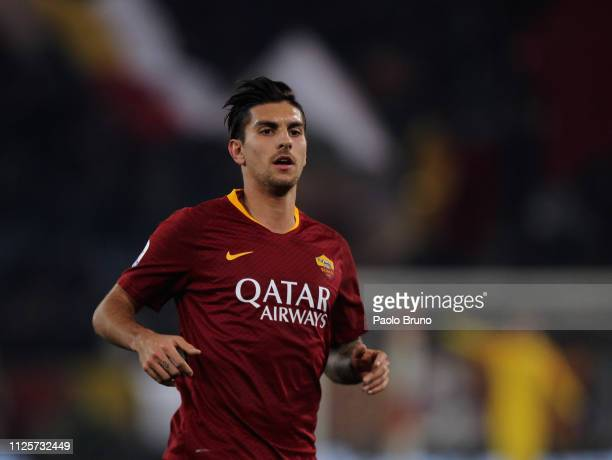 Lorenzo Pellegrini of AS Roma looks on during the Serie A match between AS Roma and Bologna FC at Stadio Olimpico on February 18 2019 in Rome Italy