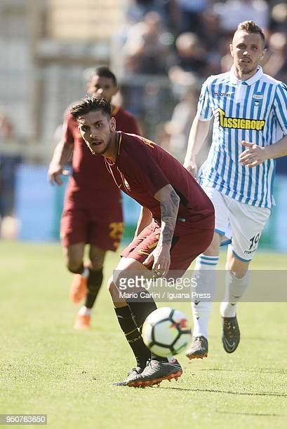 Lorenzo Pellegrini of AS Roma looks on during the serie A match between Spal and AS Roma at Stadio Paolo Mazza on April 21 2018 in Ferrara Italy