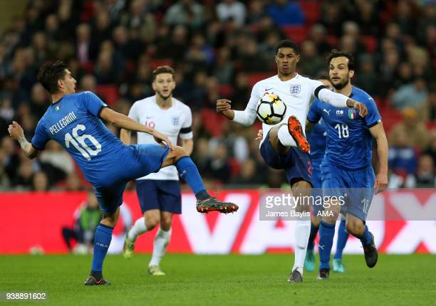 Lorenzo Pellegrini of Italy and Marcus Rashford of England during the International Friendly match between England and Italy at Wembley Stadium on...