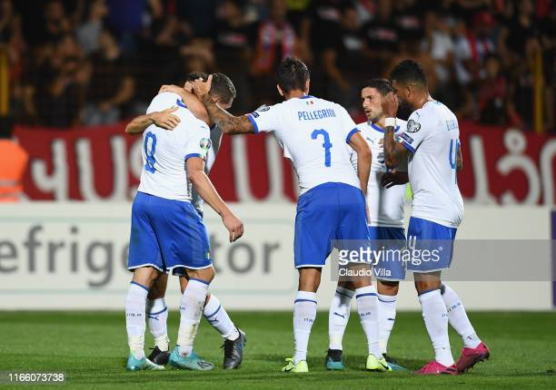 Lorenzo Pellegrini of Italy celebrates with teammates after scoring the goal during the UEFA Euro 2020 qualifier between Armenia and Italy at...