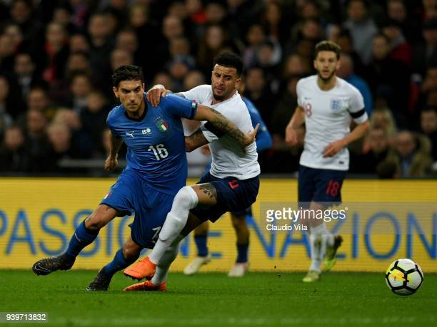 Lorenzo Pellegrini of Italy in action during the friendly match between England and Italy at Wembley Stadium on March 27 2018 in London England