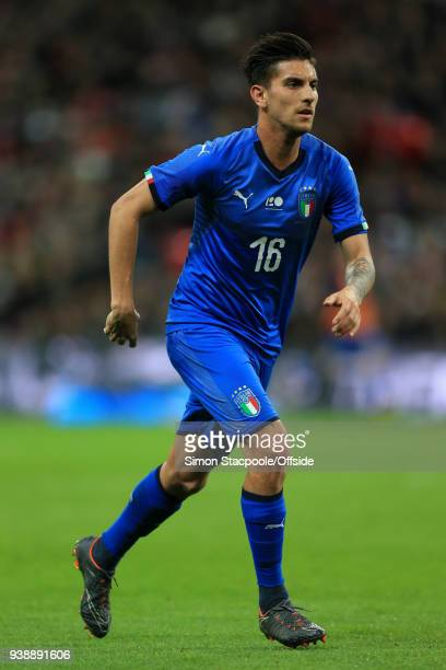 Lorenzo Pellegrini of Italy in action during the international friendly match between England and Italy at Wembley Stadium on March 27 2018 in London...