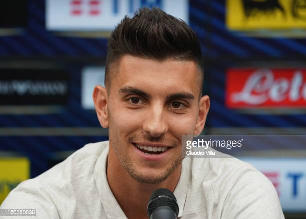 Lorenzo Pellegrini of Italy speaks with the media during a press conference at Casteldebole Training Center on June 17, 2019 in Bologna, Italy.