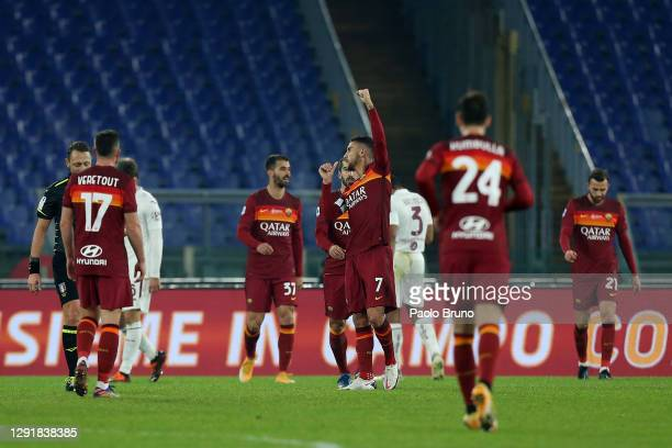 Lorenzo Pellegrini of Roma celebrates after scoring their sides third goal during the Serie A match between AS Roma and Torino FC at Stadio Olimpico...