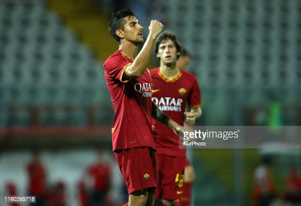 Lorenzo Pellegrini of Roma celebrates after the penalty of 22scored during the friendly match AS Roma v Athletic Bilbao at the Renato Curi Stadium in...