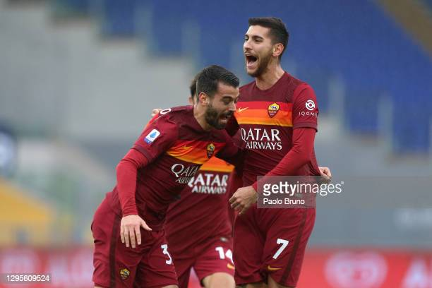Lorenzo Pellegrini of Roma celebrates with team mate Leonardo Spinazzola after scoring their sides first goal during the Serie A match between AS...