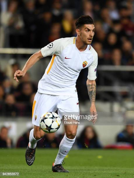 Lorenzo Pellegrini of Roma in action during the UEFA Champions League Quarter Final First Leg between FC Barcelona adn AS Roma at Camp Nou on April 4...