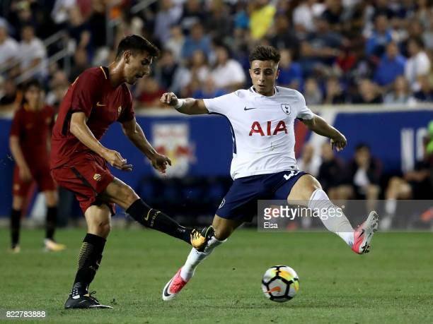 Lorenzo Pellegrini of Roma passes the ball as Anthony Georgiou of Tottenham Hotspur defends during the International Champions Cup on July 25 2017 at...