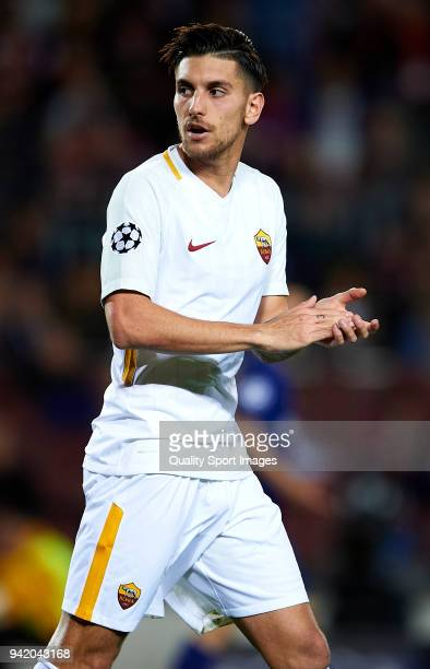 Lorenzo Pellegrini of Roma reacts during the UEFA Champions League Quarter Final Leg One match between FC Barcelona and AS Roma at Camp Nou on April...