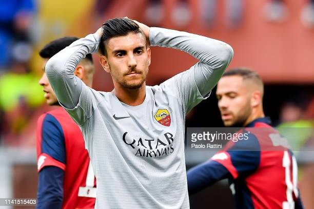 Lorenzo Pellegrini of Roma reacts with disappointment during the Serie A match between Genoa CFC and AS Roma at Stadio Luigi Ferraris on May 5 2019...