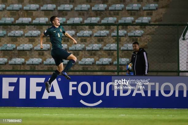 Lorenzo Pirola of Italy celebrates a scored goal during the FIFA U17 Men's World Cup Brazil 2019 group F match between Italy and Paraguay at Valmir...