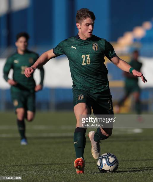 Lorenzo Pirola of Italy in action during the International Friendly match between Italy U19 and Switzerland U19 at the Stadio Rigamonti-Ceppi on...