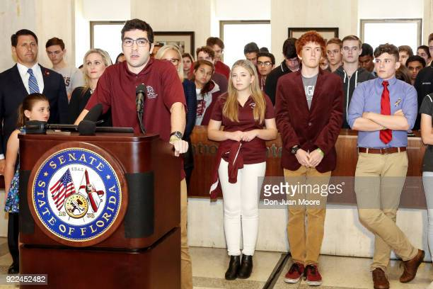 Lorenzo Prado a student from Marjory Stoneman Douglas High School speaks at the Florida State Capitol building on February 21 2018 in Tallahassee...