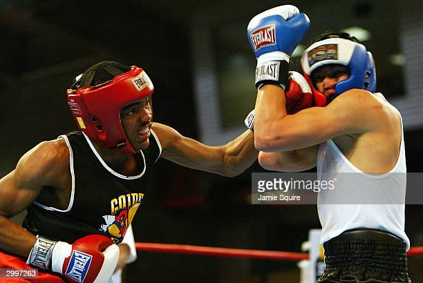 Lorenzo Reynolds lands a punch on the face of Dominic Chavez during the United States Olympic Team Boxing Trials on February 19 2004 at Tunica Arena...