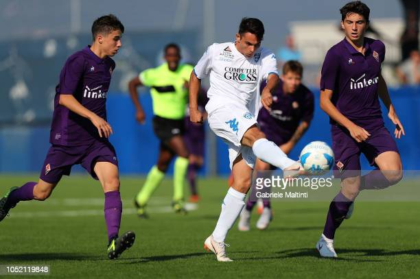 Lorenzo Riccioni of Empoli U17 in action during the match between Empoli FC U17 and ACF Fiorentina U17 on October 14 2018 in Empoli Italy