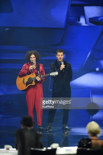 Lorenzo Rinaldi sing during first live of 13th edition of Italian version of international talent show X Factor on 24 October 2019 in Candy Arena in...