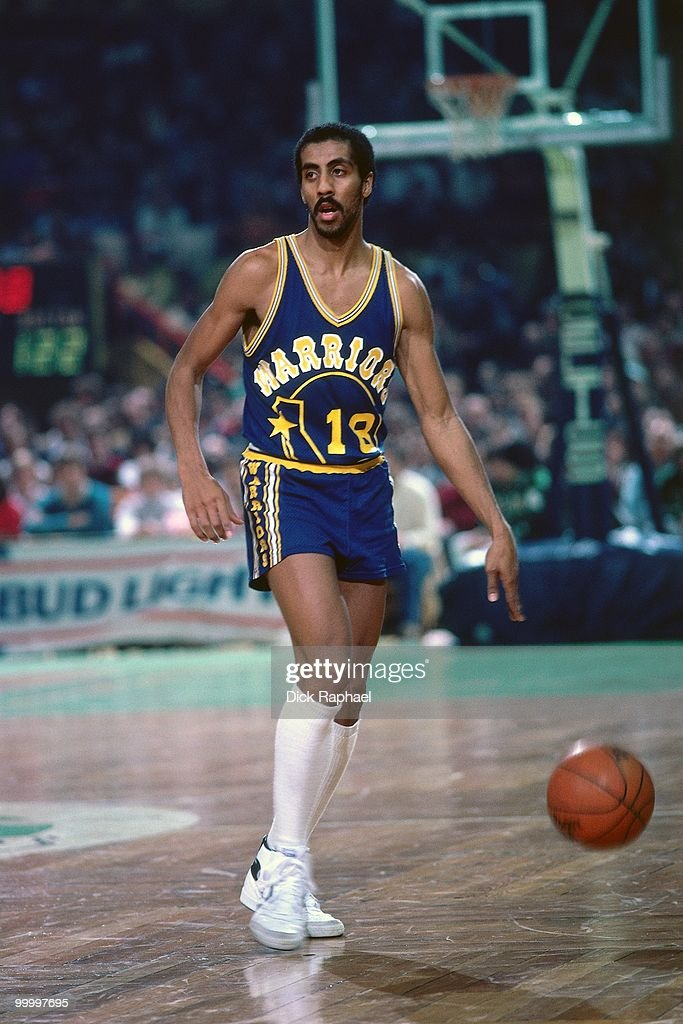 Lorenzo Romar #18 of the Golden State Warriors moves the ball up court against the Boston Celtics during a game played in 1983 at the Boston Garden in Boston, Massachusetts.