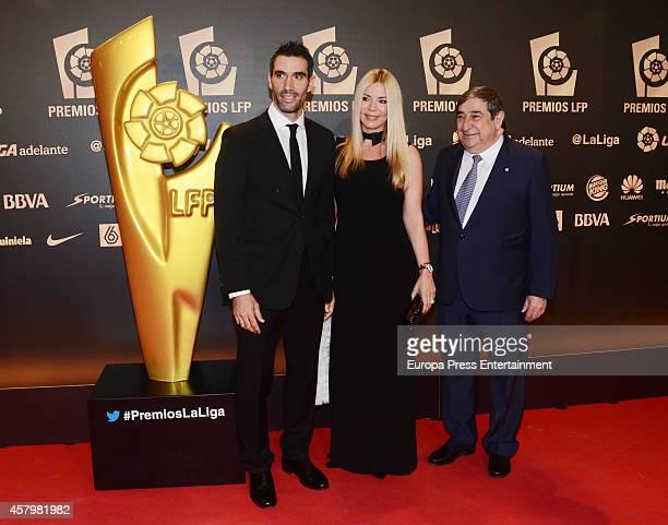 Lorenzo Sanz Ingris Rubio and Augusto Cesar Lendoiro attend the LFP Awards Gala 2014 on October 27 2014 in Madrid Spain