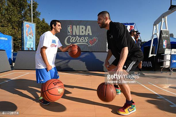 Lorenzo Sanz of Real Madrid participates during the Special Olympics Unified Clinic as part of the 2016 Global Games on October 1 2016 at the NBA...