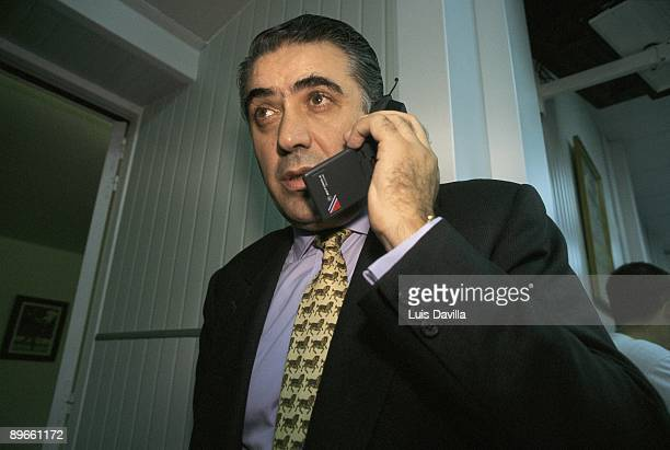 Lorenzo Sanz president of the Real Madrid FC Talking on a mobile telephone