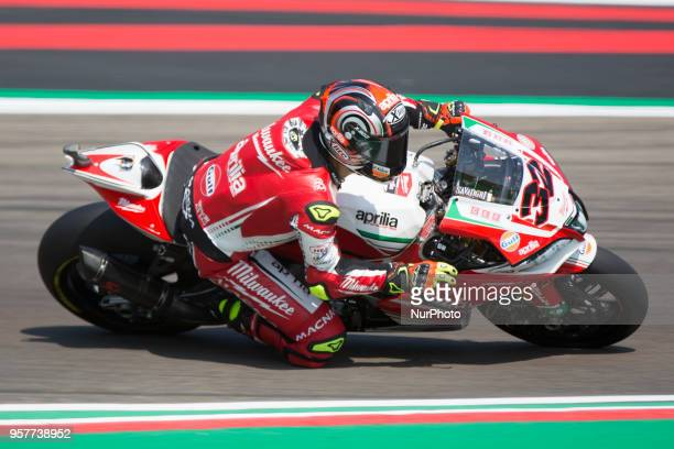 32 Lorenzo Savadori ITA Aprilia RSV4 RF Milwaukee Aprilia during the Motul FIM Superbike Championship Italian Round race during the World Superbikes...
