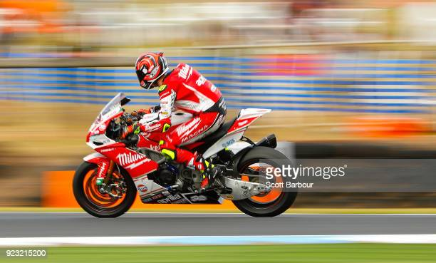 Lorenzo Savadori of Italy and Milwaukee Aprilia rides in the FIM Superbike World Championship Free Practice session ahead of the 2018 Superbikes at...