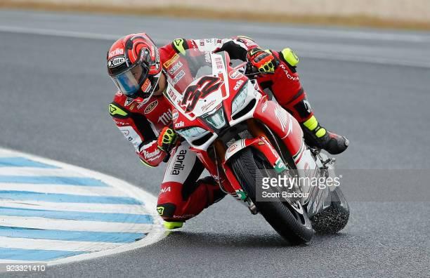 Lorenzo Savadori of Italy and Milwaukee Aprilia rides in the FIM Superbike World Championship Free Practice session ahead of the 2018 Superbikes at...