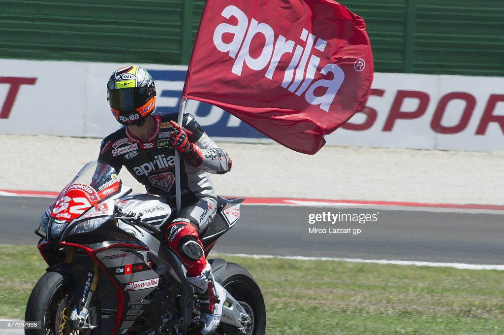 Lorenzo Savadori of Italy and Nuova M2 Racing celebrates the victory at the end of the Superstock 1000 Race during the FIM Superbike World Championship - Race at Misano World Circuit on June 21, 2015 in Misano Adriatico, Italy.