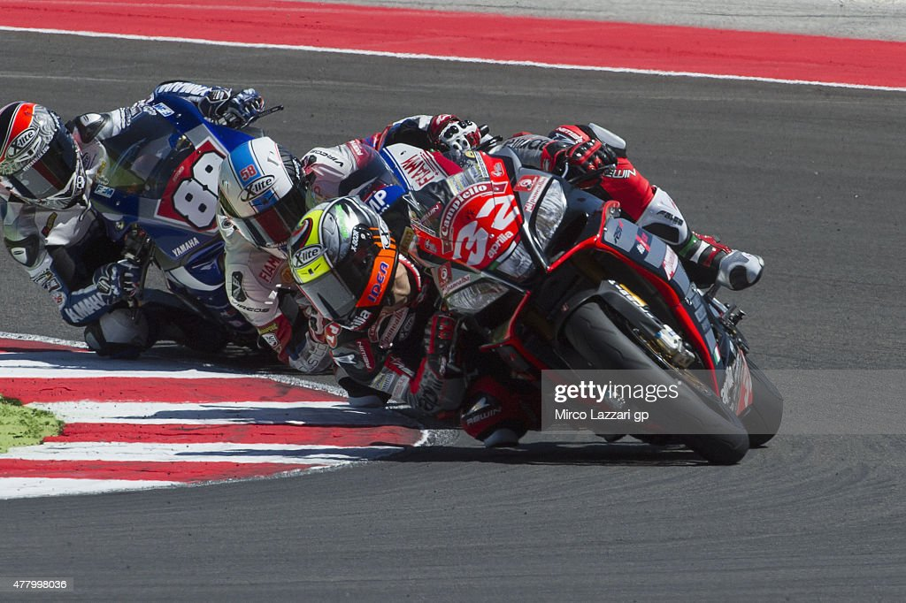 Lorenzo Savadori of Italy and Nuova M2 Racing leads the field during the Superstock 1000 Race during the FIM Superbike World Championship - Race at Misano World Circuit on June 21, 2015 in Misano Adriatico, Italy.
