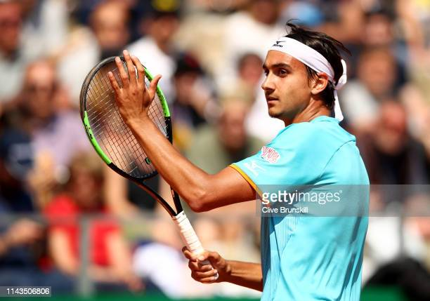 Lorenzo Sonego of Italy celebrates a point against Cameron Norrie of Great Britain in their third round match during day five of the Rolex MonteCarlo...