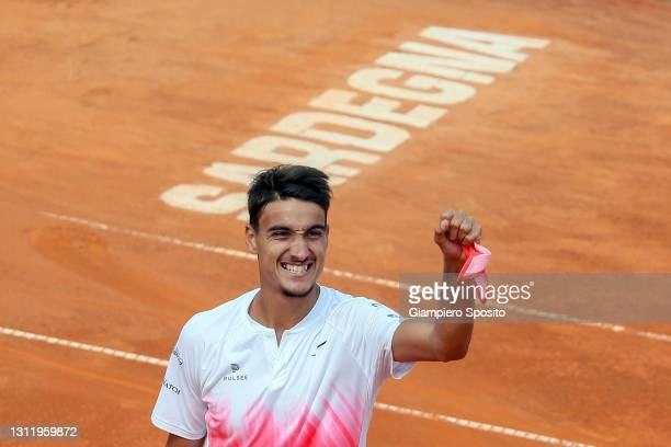 Lorenzo Sonego of Italy celebrates after winning his final match against Laslo Djere of Serbia at the Sardegna Open on April 11, 2021 in Cagliari,...
