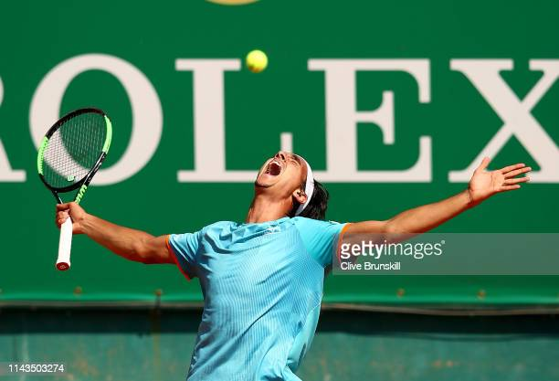 Lorenzo Sonego of Italy celebrates match point against Cameron Norrie of Great Britain in their third round match during day five of the Rolex...