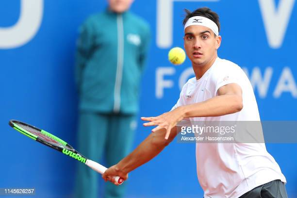 Lorenzo Sonego of Italy plays a fore hand during his quaterfinal qualification match against Henri Laaksonen of Switzerland on day 2 of the BMW Open...
