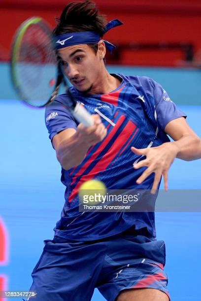 Lorenzo Sonego of Italy plays a forehand in his final match against Andrey Rublev of Russia on day nine of the Erste Bank Open tennis tournament at...