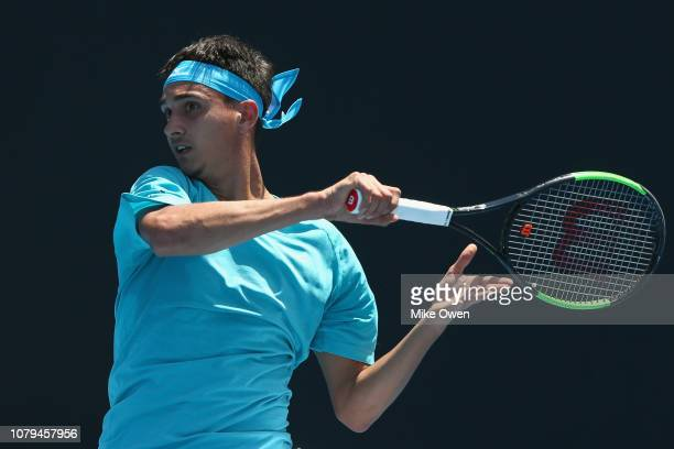 Lorenzo Sonego of Italy plays a forehand in his match against Jay Clarke of the United Kingdom during day two of Qualifying for the 2019 Australian...