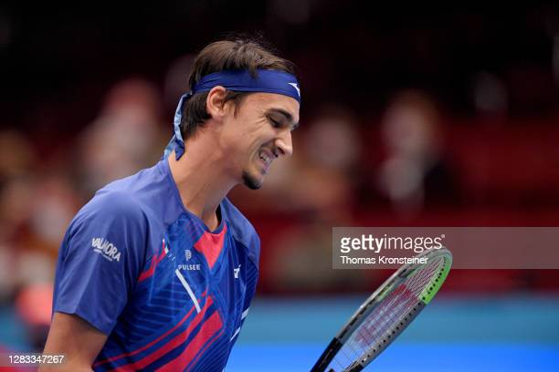 Lorenzo Sonego of Italy reacts in his final match against Andrey Rublev of Russia on day nine of the Erste Bank Open tennis tournament at Wiener...