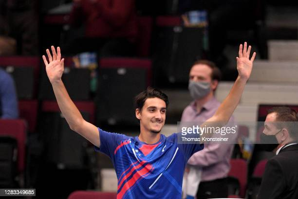 Lorenzo Sonego of Italy waves to fans after losing his final match against Andrey Rublev of Russia on day nine of the Erste Bank Open tennis...