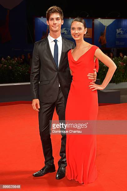 Lorenzo Tano and Laura Medcalf attend the premiere of 'Rocco' during the 73rd Venice Film Festival at Sala Perla on September 5 2016 in Venice Italy