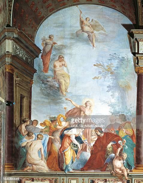 Lorenzo the Magnificent receives Virtue from the cycle The exploits of Lorenzo de Medici the Magnificent fresco by Cecco Bravo in Palazzo Pitti...