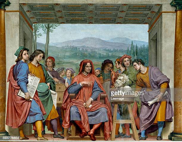 Lorenzo the Magnificent with the major artists of the time 1635 fresco by Ottavio Vannini from the Silver Room Palazzo Pitti Florence