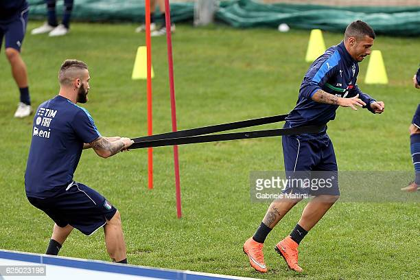 Lorenzo Tonelli and Armando Izzo of Italy during a training session at Coverciano on November 22 2016 in Florence Italy