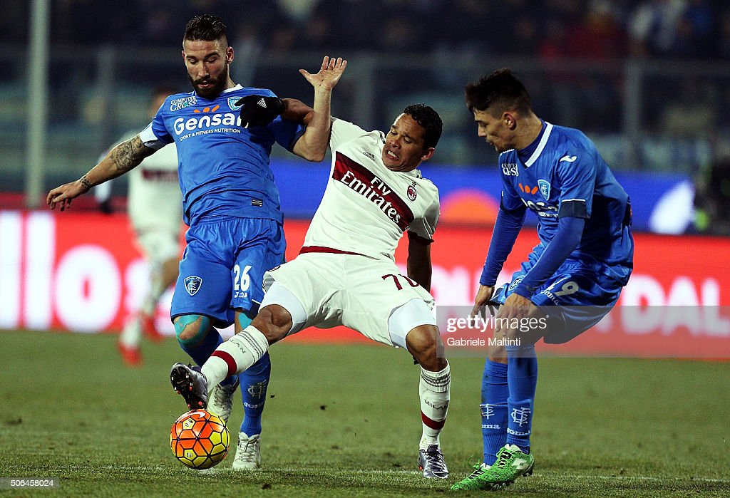 Lorenzo Tonelli and Federico Barda of Empoli FC battles for the ball with Carlos Bacca of AC Milan during the Serie A match between Empoli FC and AC Milan at Stadio Carlo Castellani on January 23, 2016 in Empoli, Italy.