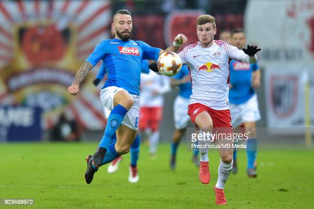 Lorenzo Tonelli of Napoli and Timo Werner of RB Leipzig during UEFA Europa League Round of 32 match between RB Leipzig and Napoli at the Red Bull...